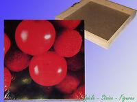 Küchen Bild auf Holzrahmen 20x20x2,8cm, gedruckt, Obst Früchte,