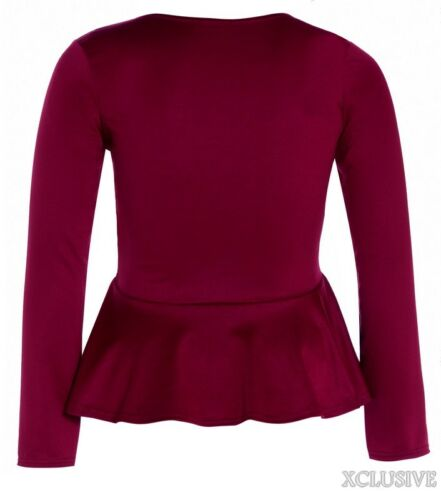 New Ladies Plus Size Long Sleeve Flared Peplum Tops Waisted Frill Fitted Tops