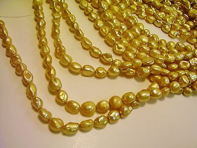 5034 BEAUTIFUL LIGHT GOLD QUALITY BAROQUE FRESHWATER PEARL JEWELRY BEAD STRAND