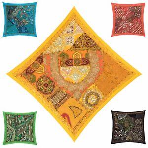 Cubierta-Cojin-de-comercio-justo-16-034-x16-034-40x40cm-Bordado-Sari-pesado-Patchwork-Cuadrados