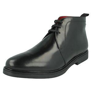 mens base london smart casual lace up black leather chukka
