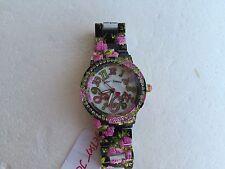 NWT Betsey Johnson BJ00482-05 BLACK / PINK ROSE FLOWER CRYSTAL BLING WATCH