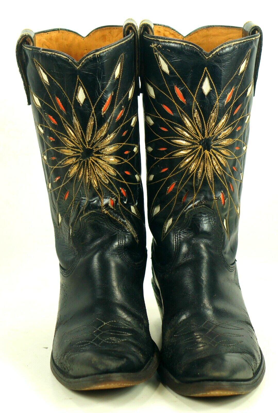 Rare Dodge City Black Cowboy Boots Inlay Gold Sunburst Vintage 50s 60s Men's 8.5
