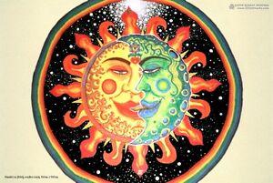 "POSTER /""Sun+Moon/"" Whimsical Psychedelic Psy Goa Spiritual Visionary Fantasy Art"
