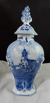 Rosenthal Scenic Delft Versailles Blue & White Germany Covered Scenic Vase Rare