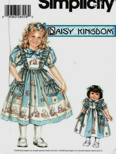 "S 5654 Daisy Kingdom Dress 4 Girl /& 18"" Doll Pattern"