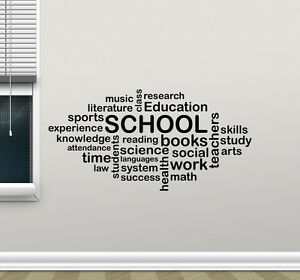 Image Is Loading School Wall Decal Words Cloud Art Education Quote