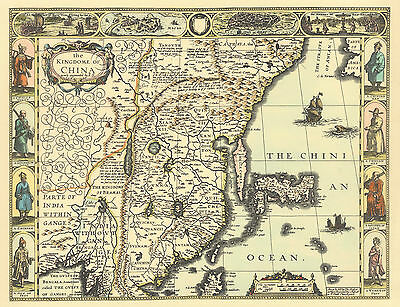 China Replica J. Speed c.1626  Old Map ALL HAND COLOURED A GREAT UNIQUE GIFT!!