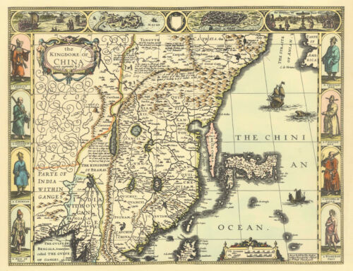 China Replica J Speed c.1626  Old Map ALL HAND COLOURED A GREAT UNIQUE GIFT!!