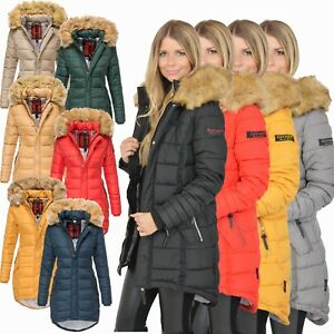 Navahoo Steppjacke Damen Winterjacke Papaya Parka Stepp Mantel Gefüttert warm