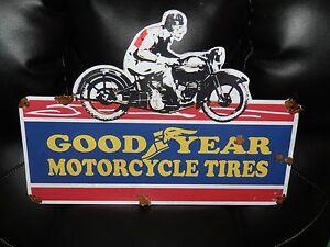 Old-style-porcelain-look-Goodyear-motorcycle-dealer-sales-service-sign-NICE