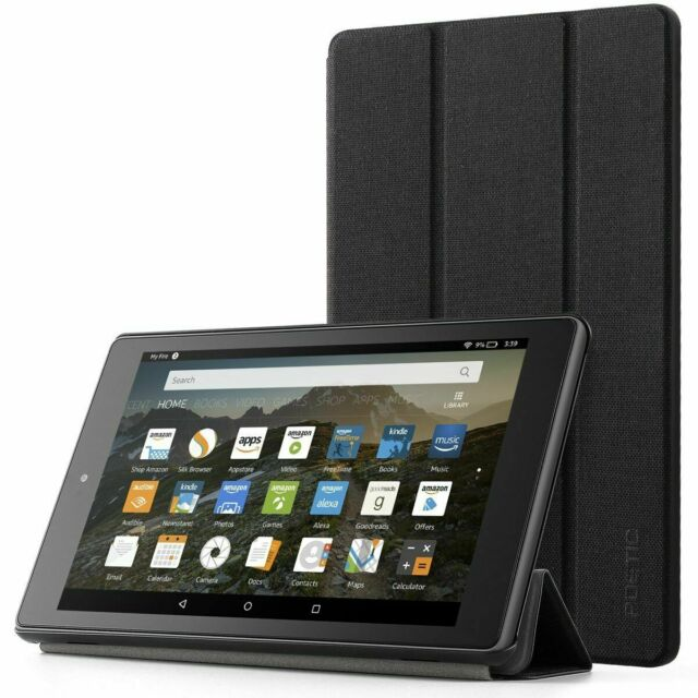 Amazon Fire HD 8 (2017/2018) Case Poetic® Leather Smart Tablet Cover Black