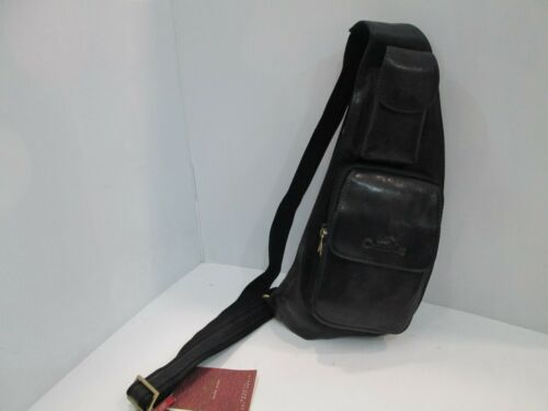 """ CONTE MAX "" BORSA BODY BAG UOMO IN PELLE Col. NERO CM 18X43 ORIGINALE"