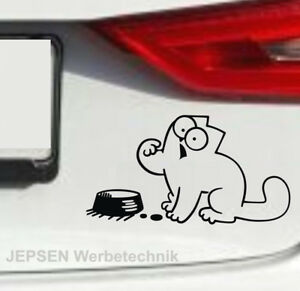 Simon-039-s-Cat-Aufkleber-Autoaufkleber-15x8cm-S090-Fuetter-mich-in-Wunschfarbe