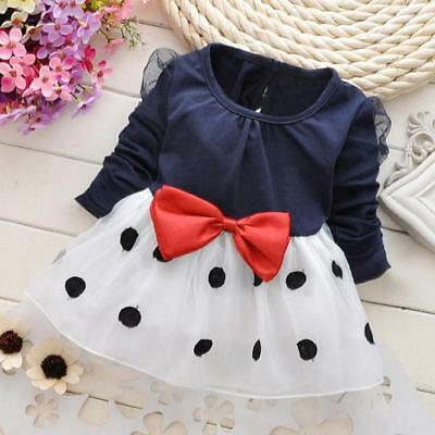 Newborn Infant Kids Baby Girl Dot Bowknot Fold Tulle Party Daily Princess Dress