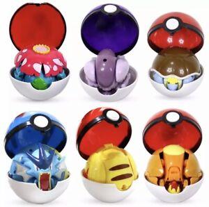 Poke mon Charlizard Pikachu Eevee Pokeball Deformation Figures Six Different