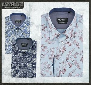 Men-039-s-Printed-Floral-Shirt-Skinny-fit-Vintage-Cotton-Long-Sleeve-NB101