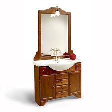 Mobile bagno classico lavabo da 105cm in arte povera country specchio e applique