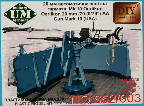 UM UNIMODELS 652/003 Oerlikon 20mm /70 (0/79) AA Gun Mark 10 USA in 1:72