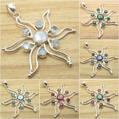 MOONSTONE /& More Gemstone Variation SWIRL STAR Pendant Silver Plated Jewelry