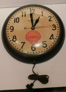RARE SHELL OIL GAS STATION GENERAL ELECTRIC CLOCK