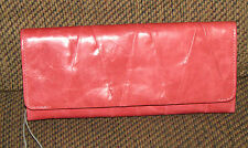 NWT New HOBO INTERNATIONAL Tegan Trifold Pleated Clutch Wallet Ruby Red Pink