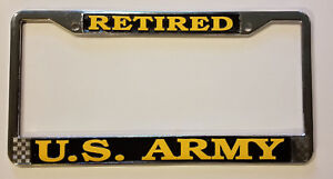 US-ARMY-RETIRED-HIGH-QUALITY-METAL-LICENSE-PLATE-FRAME-MADE-IN-THE-USA