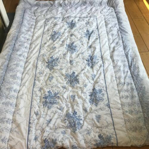 Laura Ashley SOFIA ROSES TWIN COMFORTER Filigree Blue White Cotton Cottage Garde