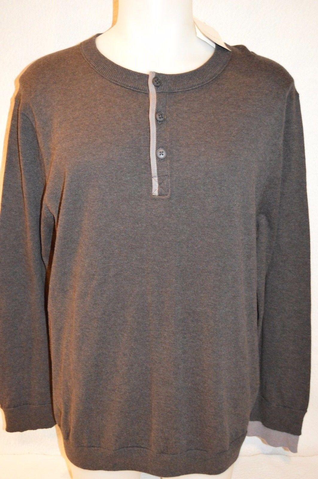 NWT INHABIT 3322 Men's Medium Charcoal purplec Cotton Henley Sweater