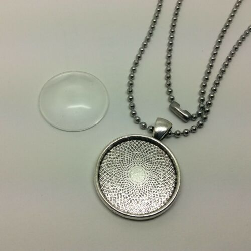 Glass dome jewellery making kit setting ball chain necklace 25mm glass cabochon