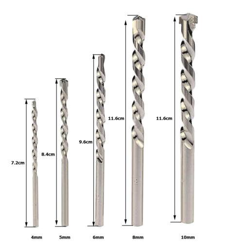5pc Nickelage Ronde Tige mur de ciment Alliage Impact Drill Bit Tool Set Nouveau