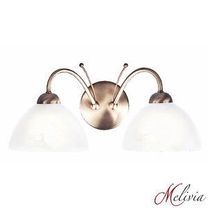 Applique-murale-verre-blanc-laiton-antique-2x60w-moderne-mur-LUMINAIRE-LAMPE