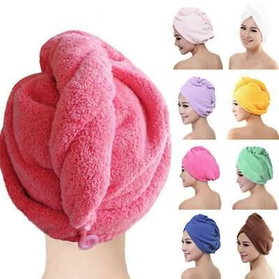Microfiber Soft Shower Hair Drying Wrap Towel Turban Hat Turbie Micro Fiber Blue