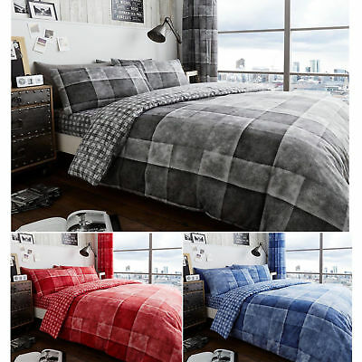 RED GREY SQUARE CHECK TRENDY TEENAGE REVERSIBLE BEDDING DUVET QUILT COVER SET