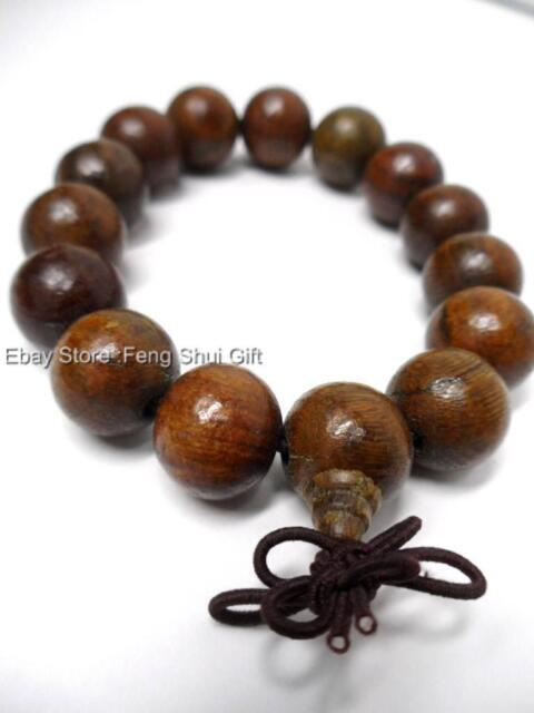 a Tibet Buddhist Chinese Oriental Monk Nun Wooden Wood Mala Bracelet Prayer Bead