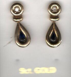 NUOVA-9-kt-375-oro-giallo-pendente-orecchini-a-perno-Zaffiro-amp-diamante-pietre