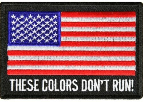 """THESE COLORS DON/'T RUN American Flag 4/"""" x 2-3//4/"""" iron on patch 1268 B2"""