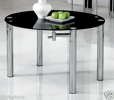 JAVA ROUND EXTENDING GLASS DINING ROOM TABLE ONLY - (2 COLOURS) FURNITURE IJ801