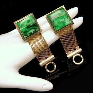 DANTE-Vintage-Mens-Goldtone-Mesh-Wrap-Around-Cuff-Links-Green-Swirl-Stones