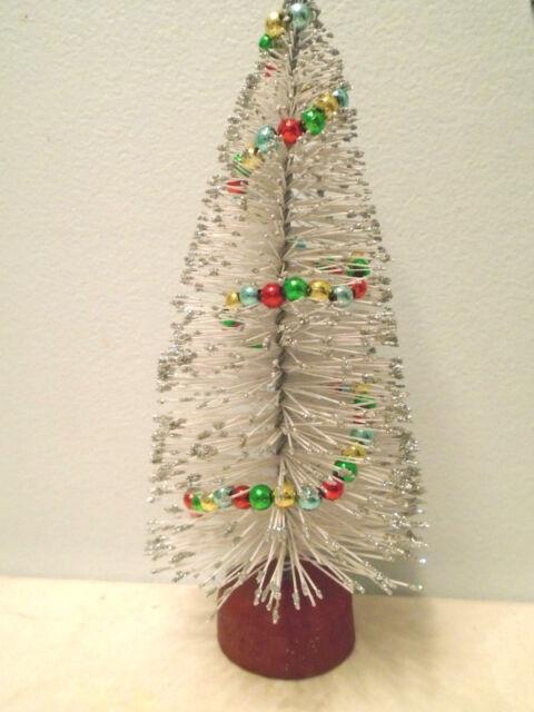 Bottle Brush White Silver Christmas Tree Shabby Beaded Garland