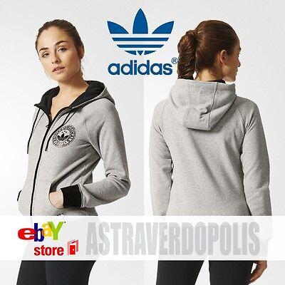 Adidas Originals Womens Trefoil SLIM GRAY HOODIE AJ7671 Sweatshirt FLEECE UK 6 | eBay