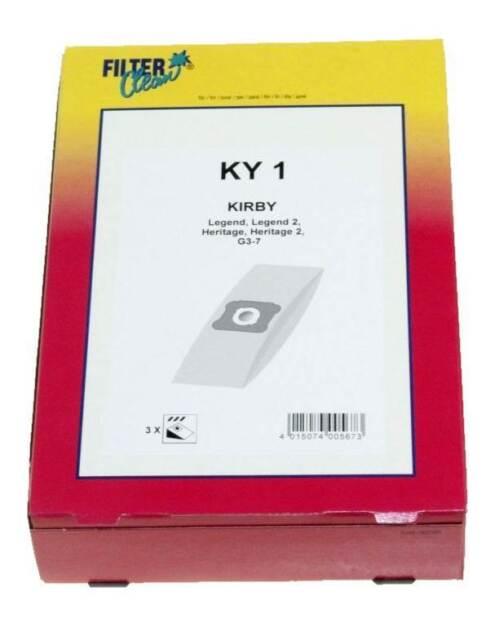 Filter Clean KY1 3x sachets sacs d'aspirateur Kirby Legend Heritage G3 G7