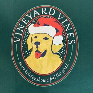 Vineyard-Vines-Mens-L-S-Green-Pocket-T-shirt-Xmas-Christmas-Retriever-Sz-M-NEW