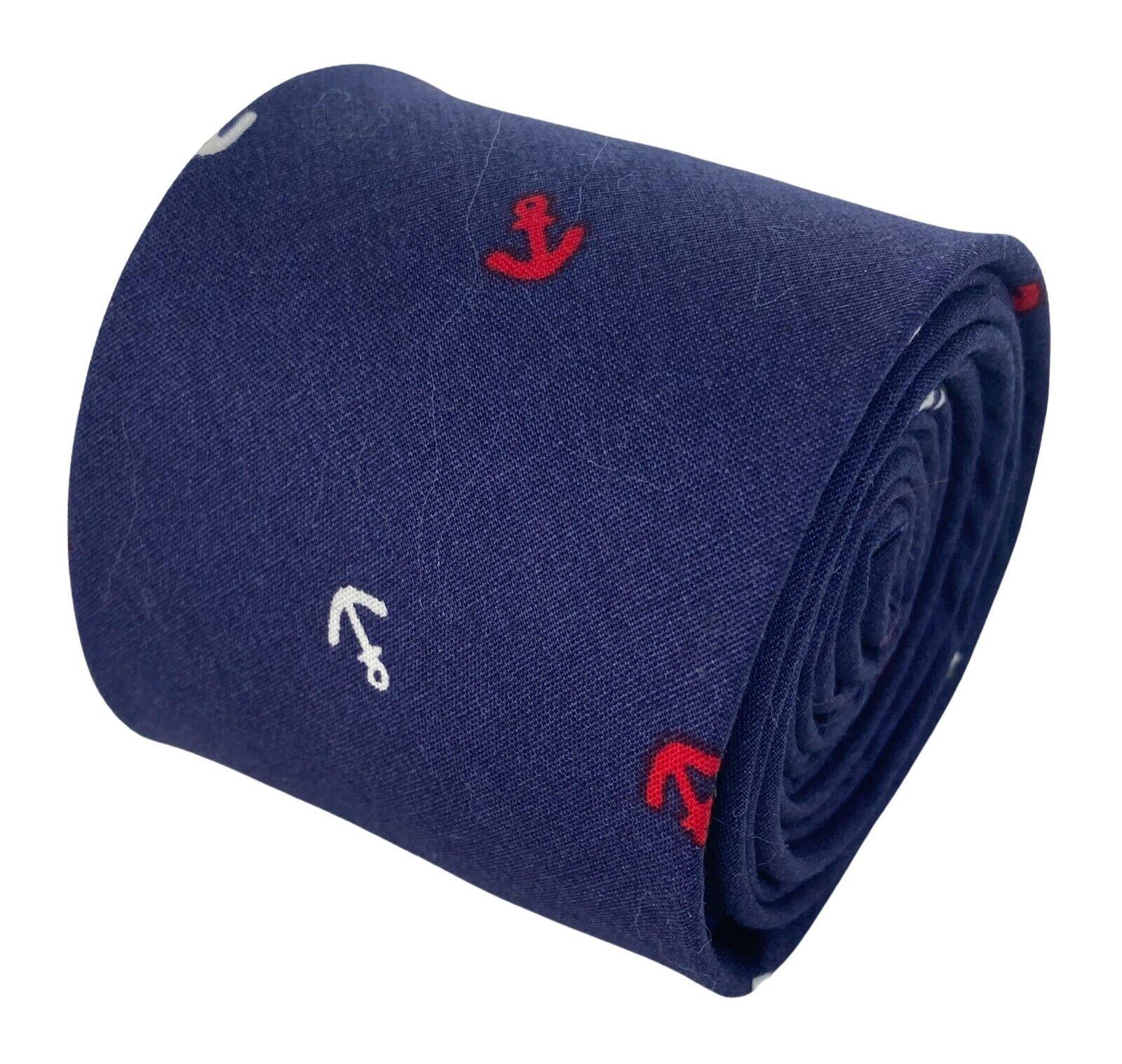Frederick Thomas Designer Navy Blue Nautical Anchor Mens Cotton Tie