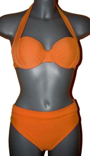 STAFFA-Bikini-MANDARINO-Orange con allacciatura al collo + BALCONETTE 40 42 44 46 Coppa B Nuovo
