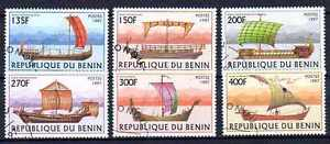 Bateaux-Benin-6-serie-complete-de-6-timbres-obliteres