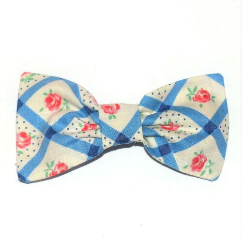 """NEW VINTAGE FABRIC 40s 50s SMALL FLOWER PRINT COTTON FABRIC 3/"""" BOW HAIR CLIP 170"""