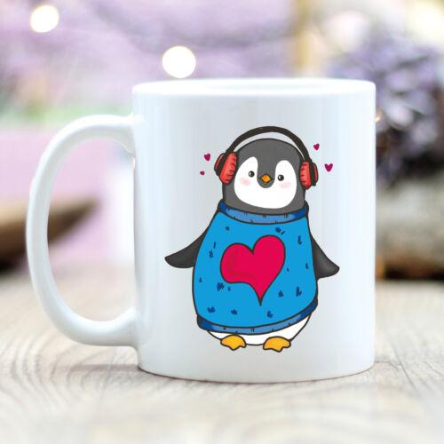 """T221 Wandtattoo-Loft Kaffee Tasse Pinguin /""""Musik an Welt aus./"""" Pingu Musik"""