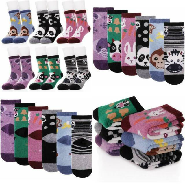 6 Pairs Baby Boy Girl Winter Thick Warm Soft Crew Wool Kids Socks