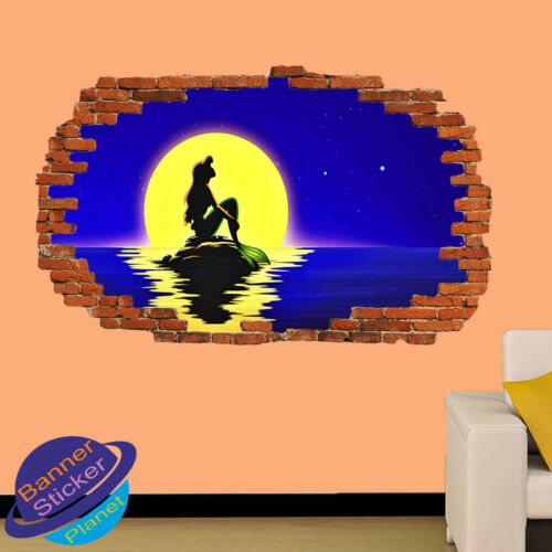 Sirena En Roca Mar Moon 3D se estrelló Pared Arte Pegatina Habitación Calcomanía Mural Decoración